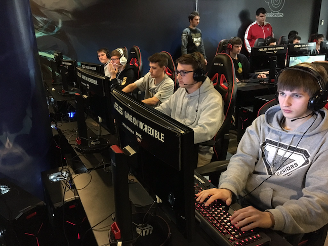 Esports teams, such as the squad pictured above at Noblesville High School in Indiana, often appeal to smart and creative students who have not participated previously in school activities.