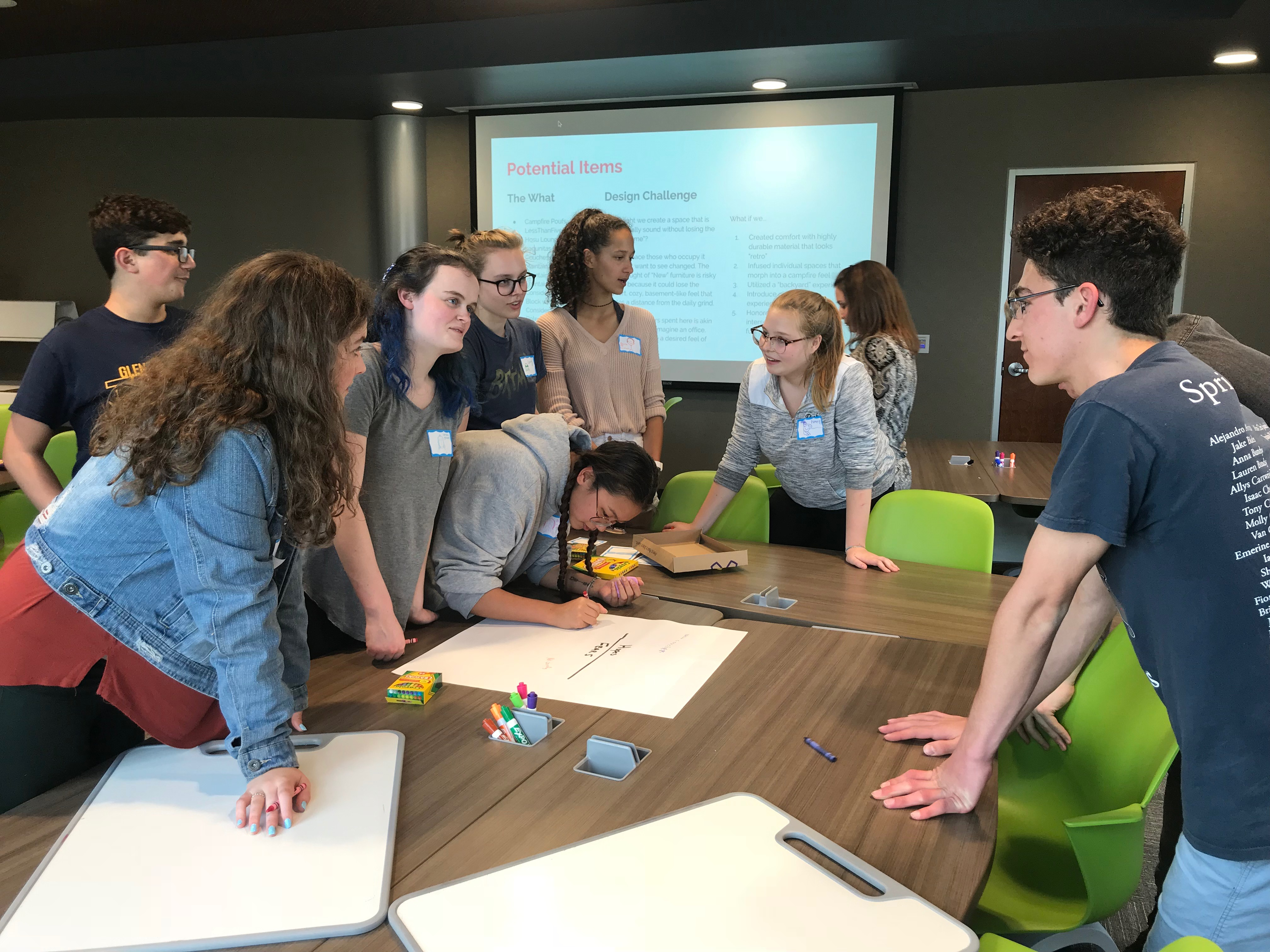 Students at Glenbrook High Schools District 225 near Chicago have begun to use design thinking as teachers adopt the philosophy that encourages both educators and learners to be in the moment, to work together, to be human-centered and to explore new ideas.