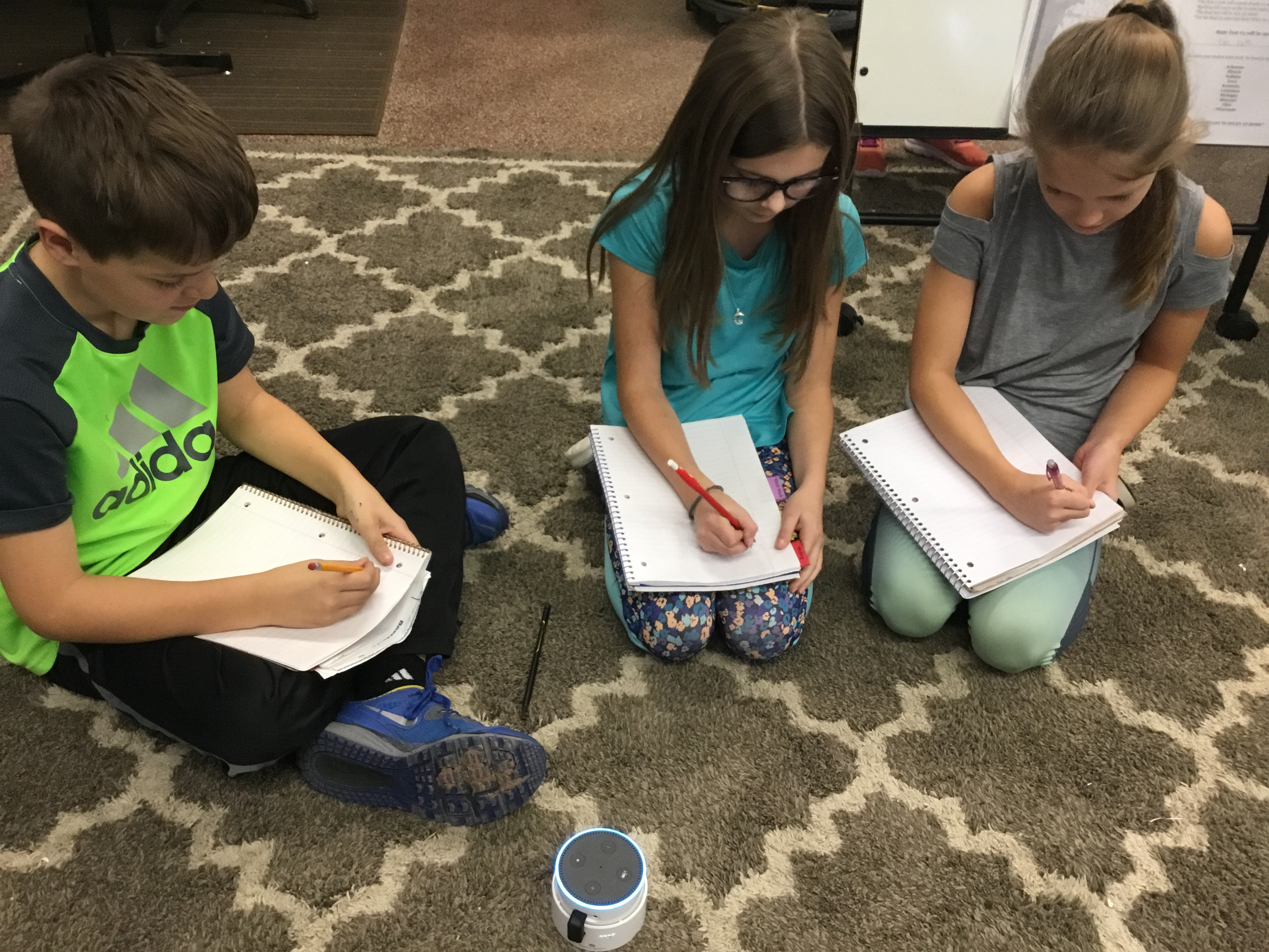 VOICE-ACTIVATED LEARNING—Students at Spring Road Elementary in Neenah, Wisconsin, listen to morning announcements on an Echo Dot. They also get writing prompts and math lessons from the device.