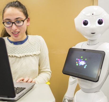 robotic response—Students at the Galileo Academy of Science and Technology in San Francisco USD learn how to program humanoid robots to help boost their coding skills.