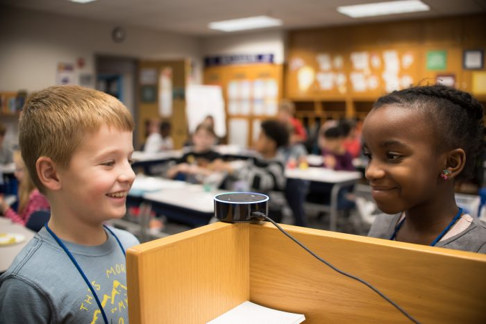 VOICE-ACTIVATED Q&A—Students in the Metropolitan School District of Wayne Township in Indiana ask Alexa questions about what they're studying. For safety reasons, the IT team has connected the device to a specialized Wi-Fi network.