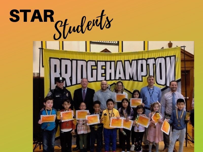 The Star Student winners for the Bridgehampton UFSD PBIS School Elementary Monthly Assembly.