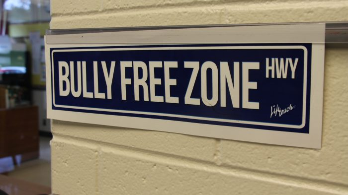 "Signs such as ""Bully Free Zone HWY"" were displayed at C.R. Weeks Elementary School of Windsor Central School District."