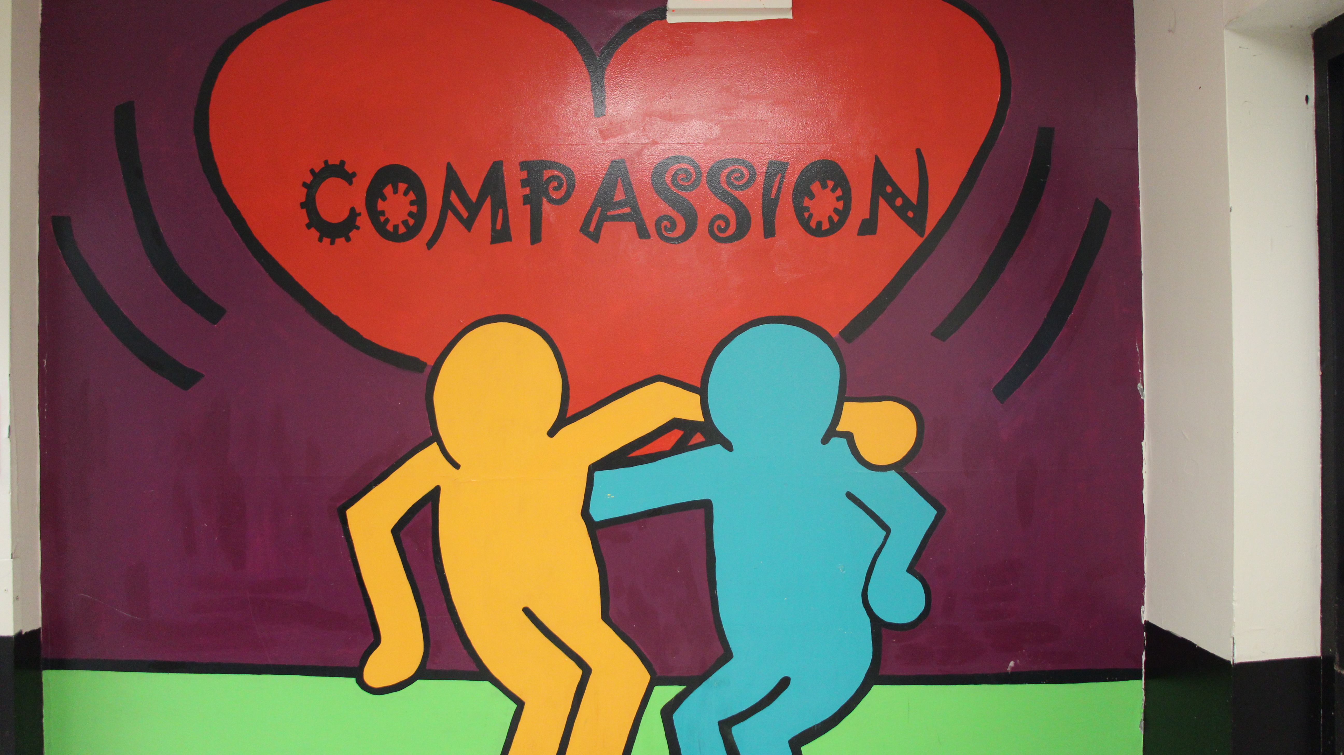 """Murals that promote positive emotions such as compassion were displayed at Windsor Central Middle School of Signs such as """"Bully Free Zone HWY"""" were displayed at C.R. Weeks Elementary School of Windsor Central School District."""