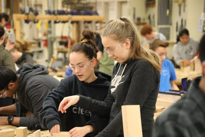 CTE students in Oregon's Corvallis School District build egg launchers. Career prep has made students more excited about their studies.