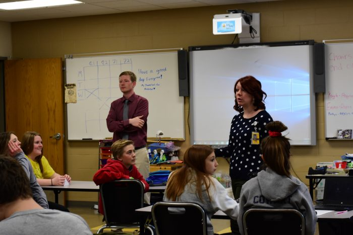 At Northern Cass School District #97, Christian Thompson and Brit Breiland co-teach a STEAM class for middle school learners. Co-teaching is an example of collaborative teaching.