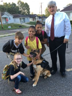 Neel Durbin, director of Dyersburg City Schools in Tennessee, has brought in several therapy dogs to help students and teachers relax.