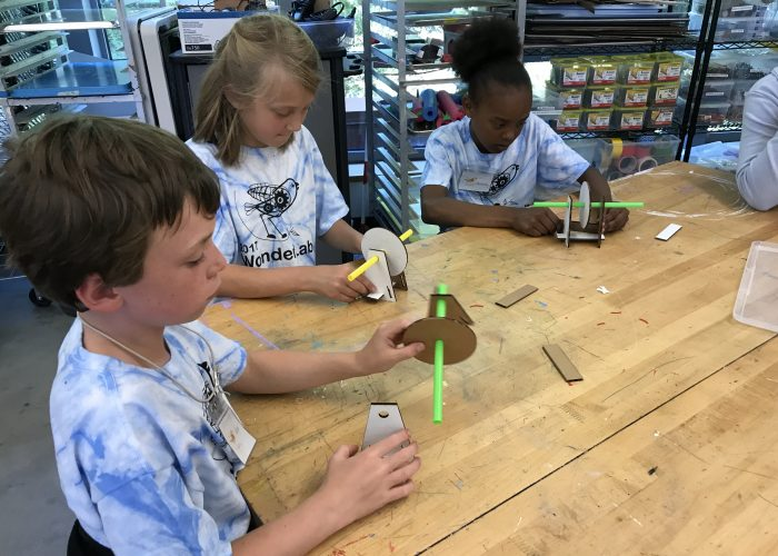 Makerspace tudents get highly creative with low-tech materials at Marin Country Day School in Northern California.