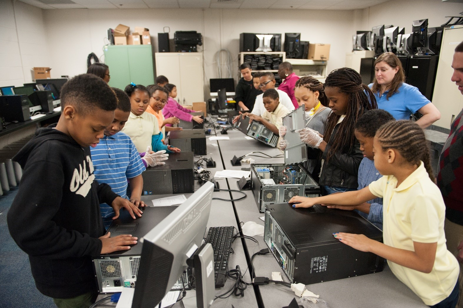 K-12 students learn valuable tech recycling skills as they help refurbish computers in the EduCycle program at Towson University in Maryland.