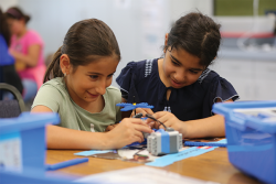 Students collaborate on a motorized Lego project at Anza Elementary in El Cajon, California. The San Diego County Office of Education has been helping district leaders with assessment strategies that move away from traditional tests.