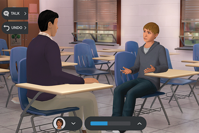 The At Risk suicide prevention program allows teachers to practice discussing mental health concerns with virtual students.