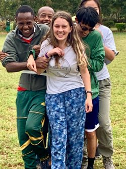 Students on a World Leadership School trip in Tanzania.