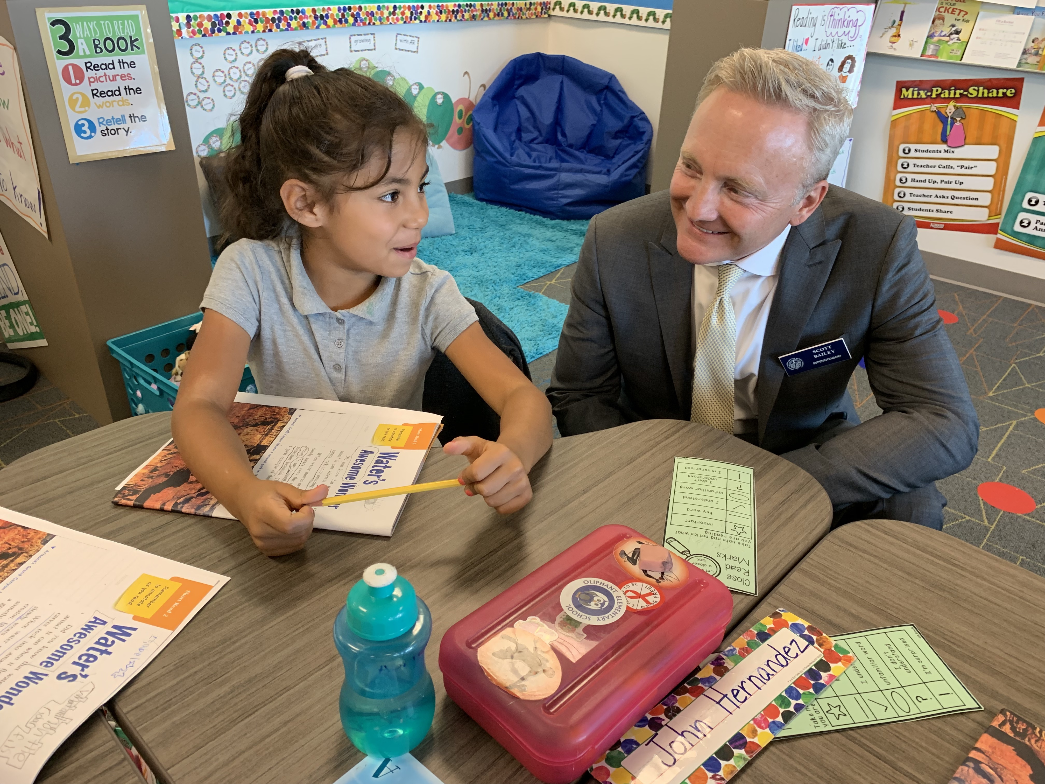 """Desert Sands USD Superintendent Scott Bailey says he relieves the stress of leadership by sitting down and talking with young students. They """"take you back to why you're here, to what it's all about."""""""