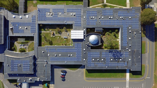 By tracking energy usage data, facilities staffers at Trumbull Public Schools in Connecticut increased efficiency and found funds for bigger money-saving capital projects, such as this solar array atop a smart school building, Hillcrest Middle School.