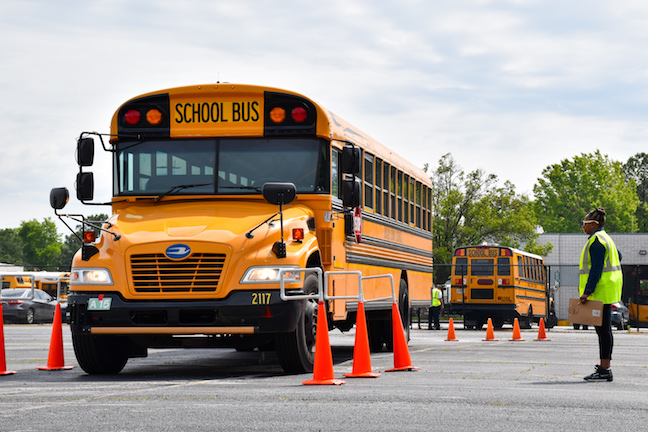 School bus drivers in Georgia's DeKalb County School District participate in a school bus rodeo, an annual event to boost driving skills, including for drivers involved in special needs transportation.