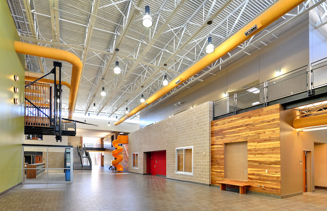 New air conditioning systems can play an aesthetic role in a building's design, such as at this school in Texas' Spring ISD.