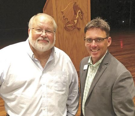 Pine City Public Schools Superintendent Curt Tryggestad (left) met recently with the community, including Pine Technical and Community College President Joe Mulford (right).