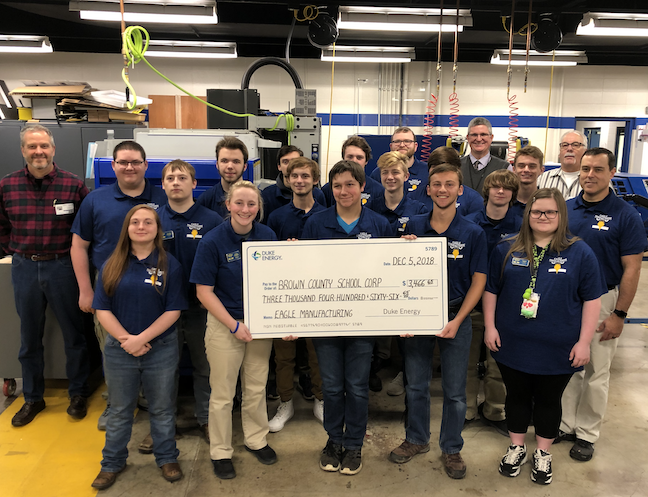 Students develop many of the skills in Brown County Schools' graduate profile running their own manufacturing/marketing/design business, which is called Eagle Manufacturing.