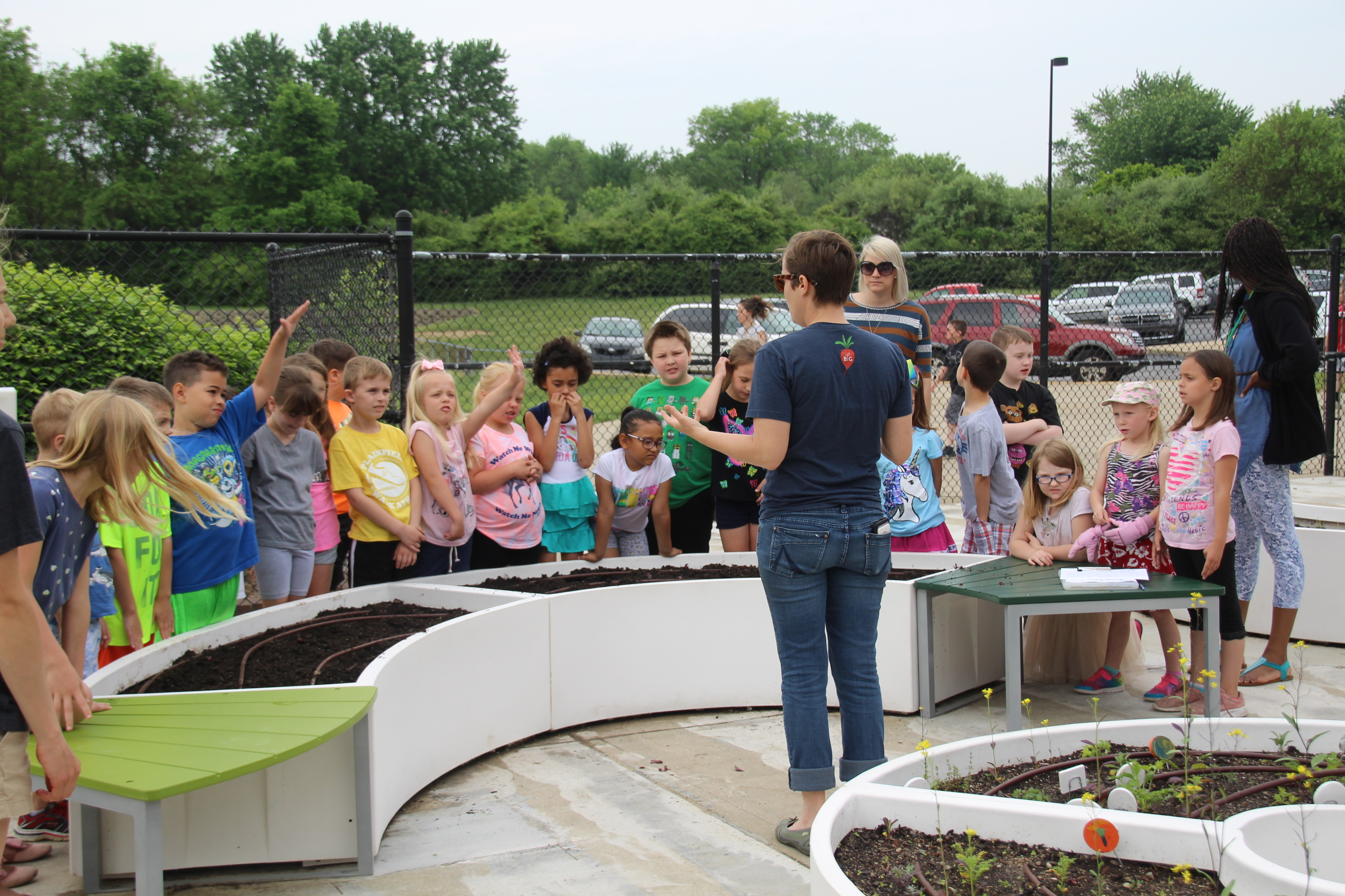 Plainfield Community School Corp. elementary school students learn about nutrition and growing food in the Imagination Lab's garden.