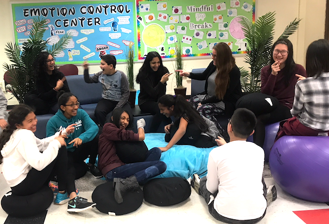 "A ""laughter yoga"" session reduces student stress in the West Windsor-Plainsboro Regional School District in New Jersey. The district has also provided PD to show teachers how to conduct meditation and breathing exercises to ease their own and students' anxiety."