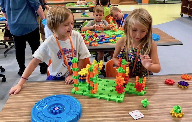 Students work on projects in The Imagination Lab at Clarks Creek Elementary School near Indianapolis. The Plainfield Community School Corp. created the STEM makerspace by filling in an old swimming pool.