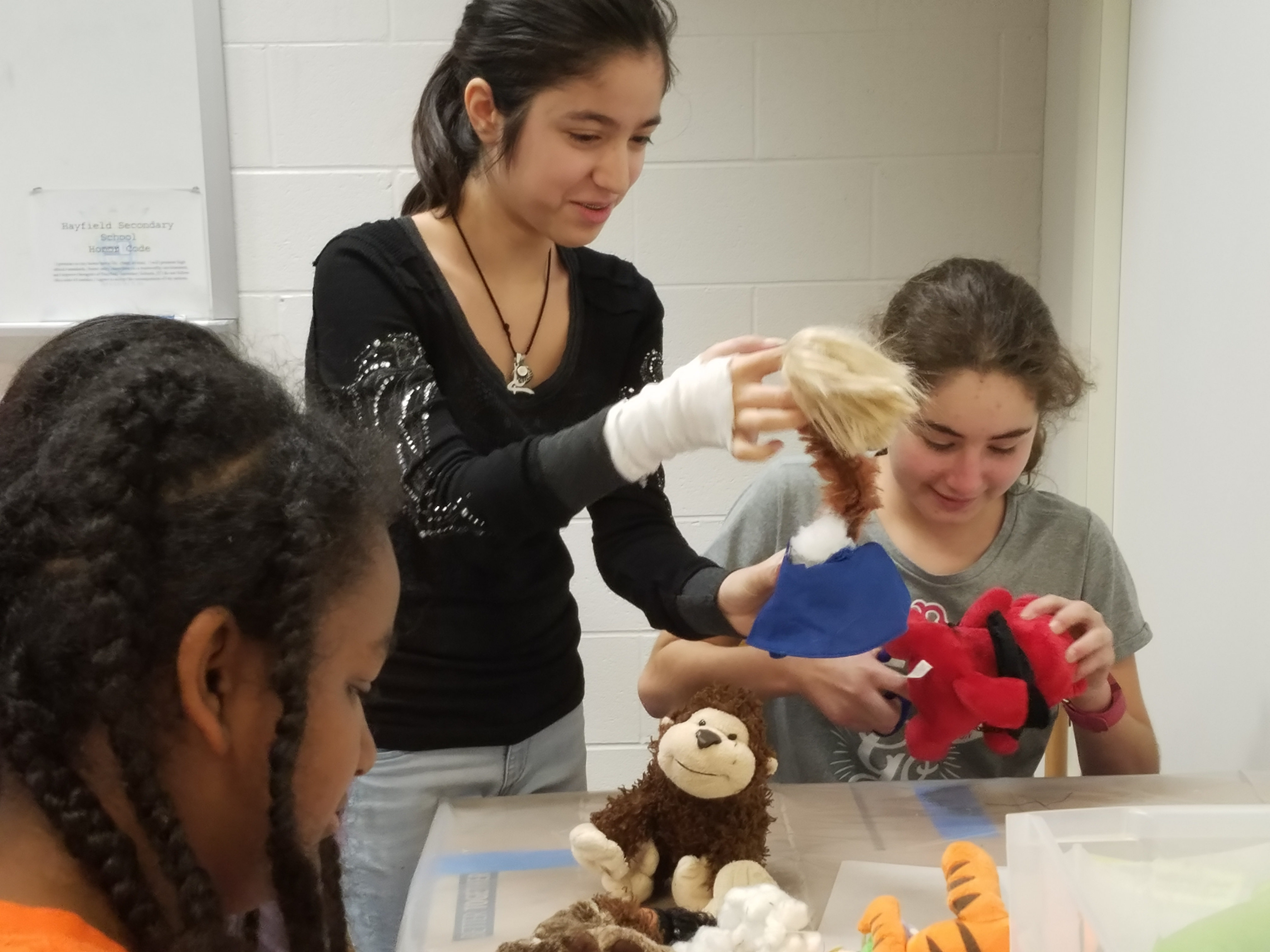 Students at Hayfield Secondary School, part of Fairfax County Public Schools, create all sorts of unique objects during a Frankentoy maker activity.