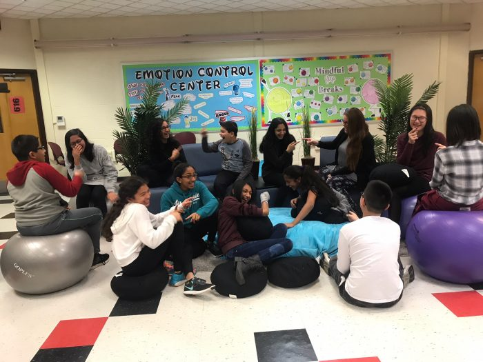"""A """"laughter yoga"""" session reduces student stress in the West Windsor-Plainsboro Regional School District in New Jersey. The district has also provided PD to show teachers how to conduct meditation and breathing exercises to ease their own and students' anxiety."""