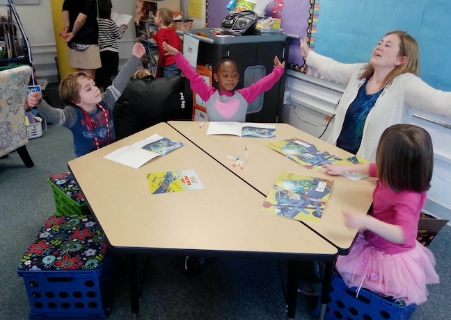 Students at West Bridgewater Public Schools near Boston participate in a classroom relaxation exercise. The district has adopted a wide-ranging curriculum to lower student stress.