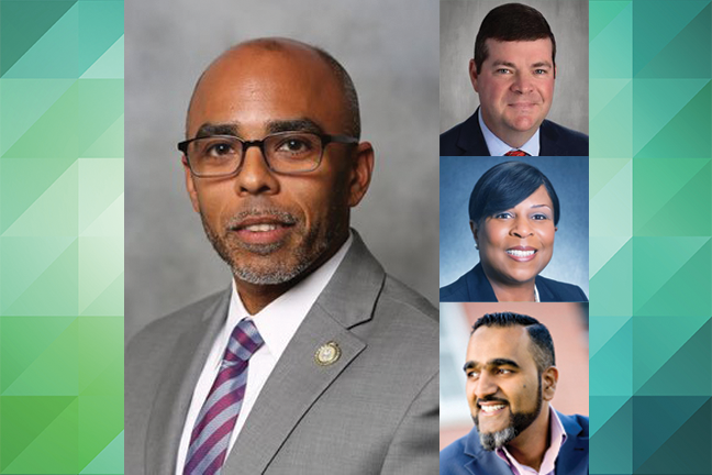 Superintendents in Georgia (Jason Branch, pictured, top right), Illinois (Habeeb Quadri, bottom right), New York (Eudes S. Budhai, left) and Tennessee (Monique Felder, center right) are recognized for success in their districts.