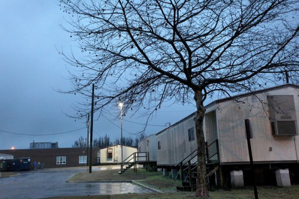 Millions are needed to upgrade Virginia's Chesapeake Public Schools, a recent study found. Pictured: Portable classrooms at Hickory Middle School.