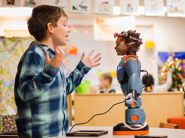 Robots such as Milo (above) help students on the autism spectrum test social strategies and newly learned academic skills in a safe way.