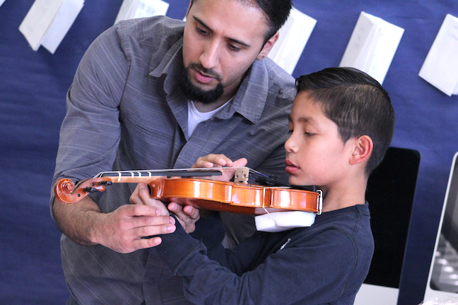 Every student at Roosevelt Elementary School in California's San Gabriel USD learns to play the violin beginning in first grade and can switch to a brass, woodwind or other string instrument in fourth grade.