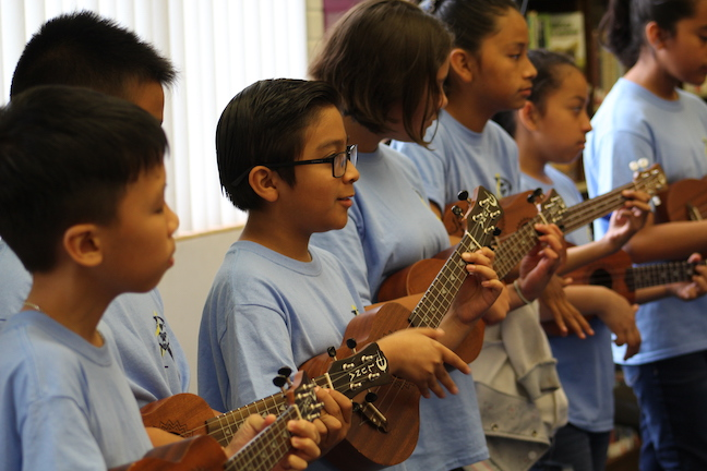 Students at Roosevelt Elementary School in San Gabriel USD are exposed to music every day, and are required to play the violin starting in first grade. They later move on to other instruments, such as the piano, guitar or ukulele.