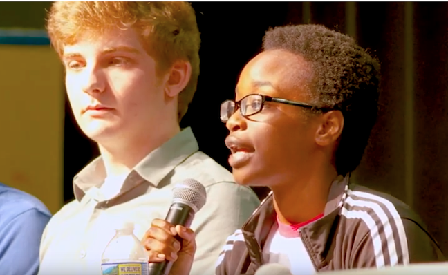 A students speaks at Montgomery County Public Schools' first LGBTQIA Forum, which the Maryland district held in May at Thomas S. Wootton High School.