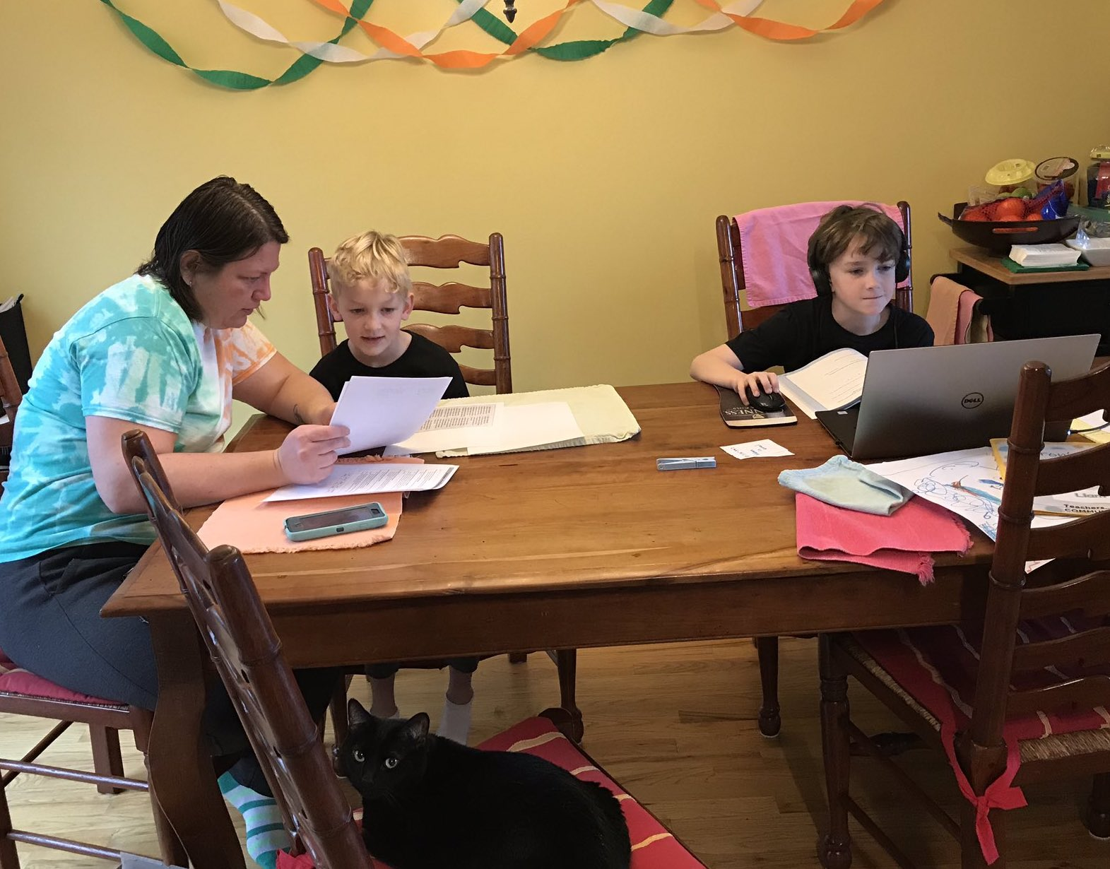 A Hamilton County School family works on remote learning projects.