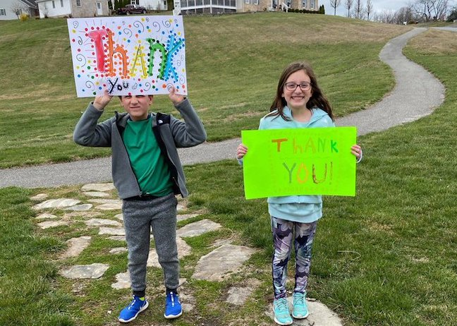 Students in Virginia's Montgomery County Public Schools thank bus drivers and aides who are delivering meals, ed tech and homework while school buildings are closed due to coronavirus.