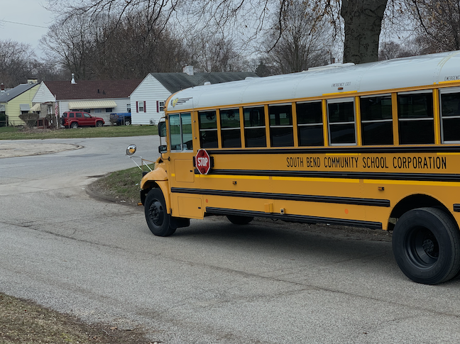 Students are getting online to the internet thanks to WiFi-enabled buses parked in high-needs locations by the South Bend Community Schools in Indiana.