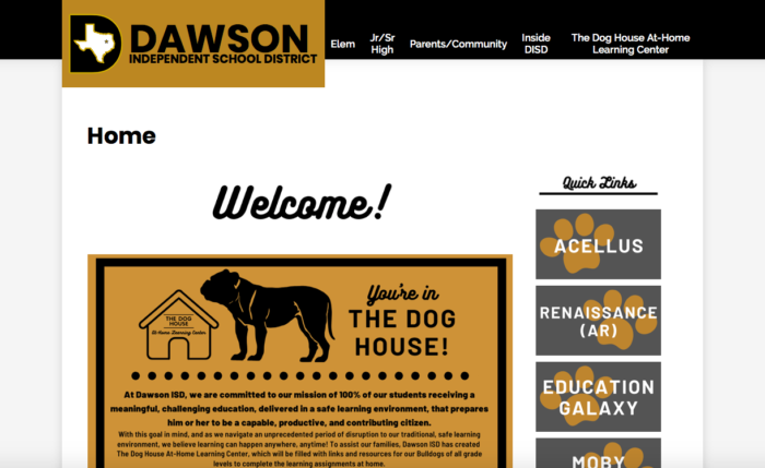 Dawson ISD had the pieces in place—primarily its website and a strong community—to respond quickly to COVID-19.