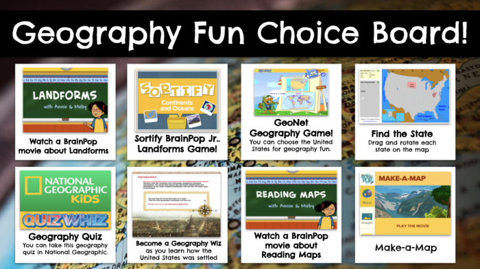 The Geography Fun Choice Board is one example of how librarians can work with teachers to bring together resources for students to explore.