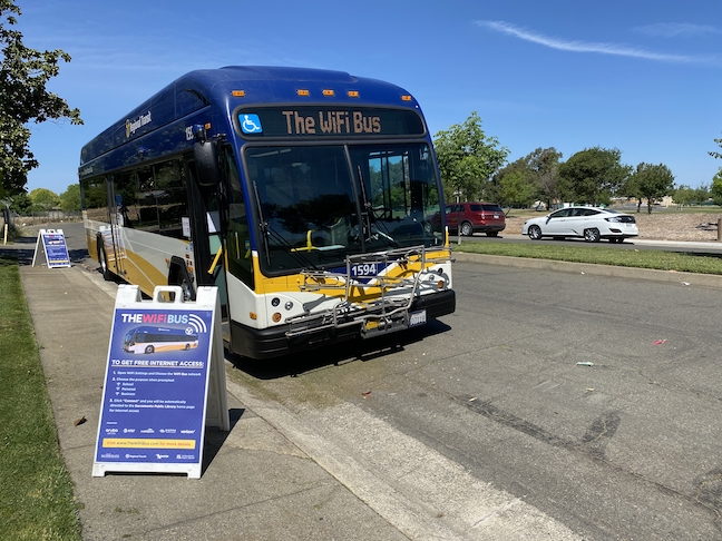 Ten WiFi 'super hotspot' buses have been deployed in Sacramento, California, to provide students with broadband internet access to connect to online learning.
