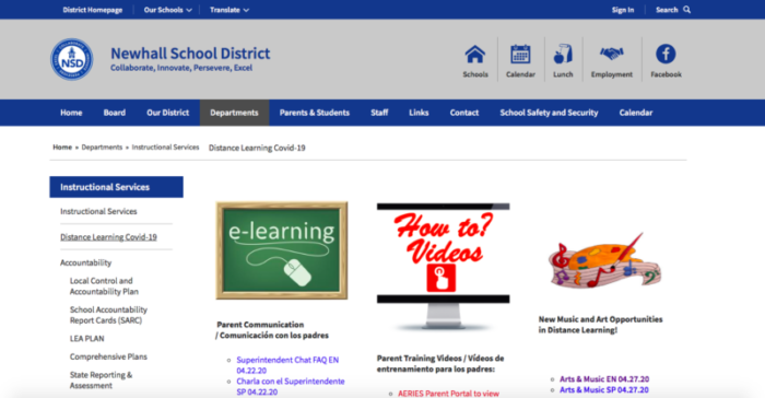 When the district determined that a number of parents did not have a basic knowledge of technology, staff created tutorial videos in English and Spanish on topics such as how to create a password and an email, and how to navigate Google Classroom and other resources, that were posted on the district COVID-19 webpage.