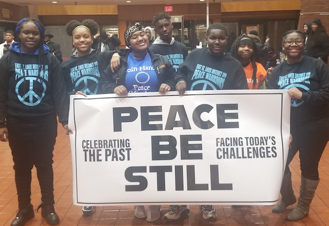 East Saint Louis School District's Peace Warriors promote the non-violent activism of Martin Luther King at a recent citywide peace rally.