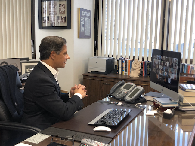 Miami-Dade County Public Schools Superintendent Alberto Carvalho connects with students online.