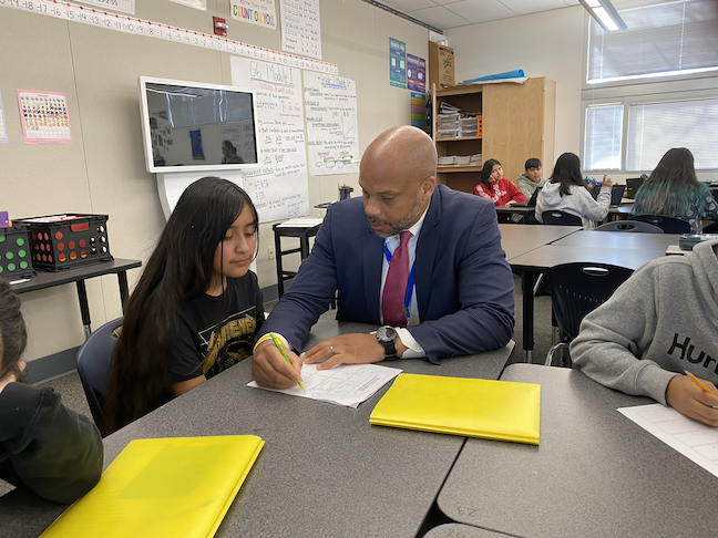 SuperintendentAyindéRudolph has created a virtual learning team to produce the online lessons for teachers in the Mountain View Whisman School District in Silicon Valley.