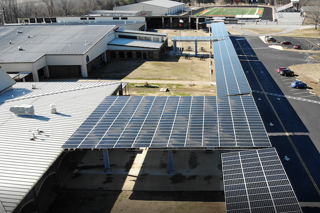 Some 700 solar panels now cover the canopy where Batesville School District high school and junior high school students arrive and depart each day.