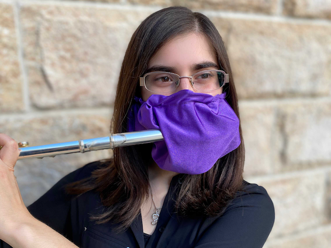 The end of junior music education major Louisa Pandolfo's is also covered with a piece of fabric that prevents droplets from coming out of the end.