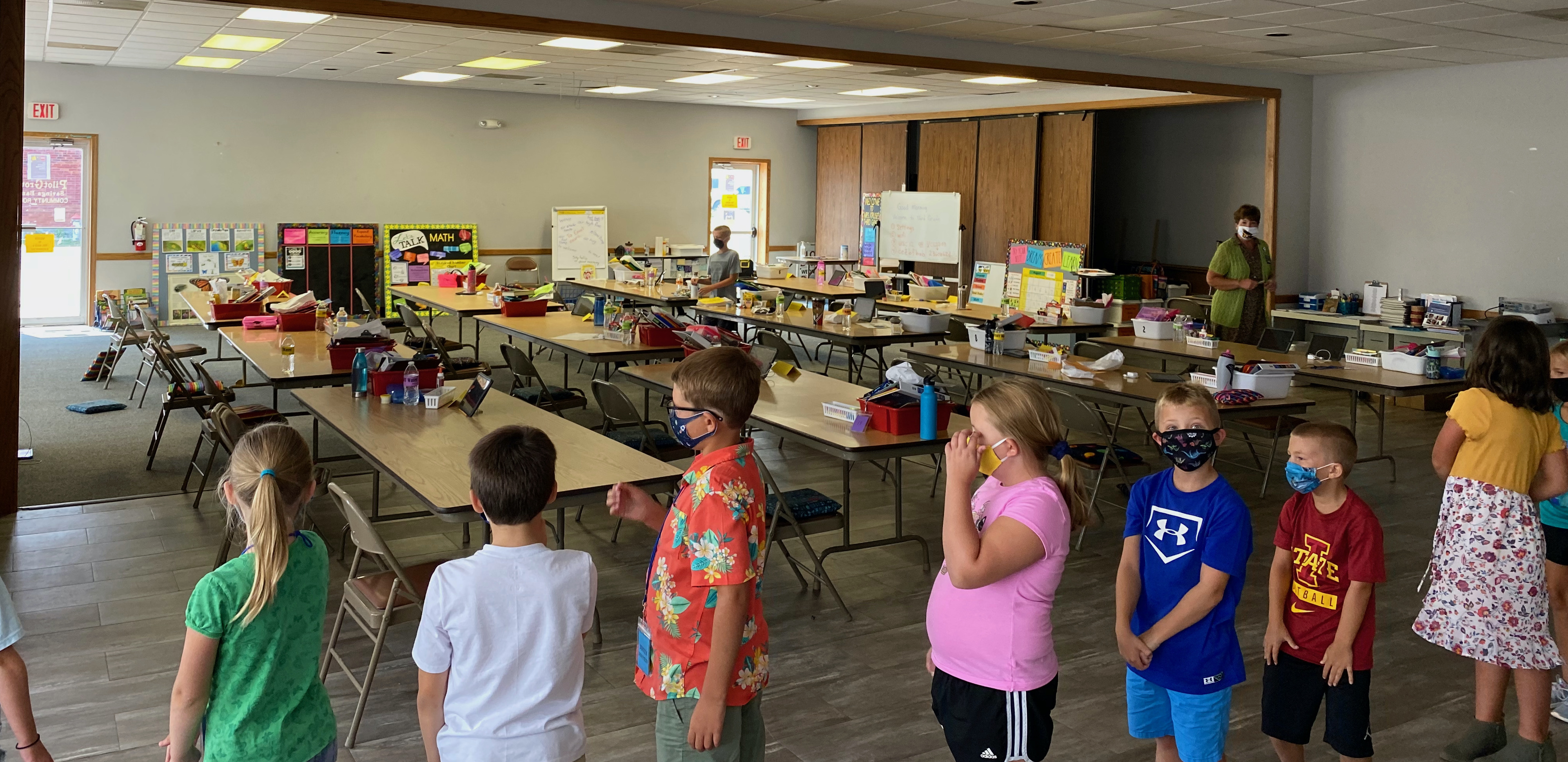 The community room at Pilot Grove Savings Bank in Donnellson serves as one classroom POD for the school district.