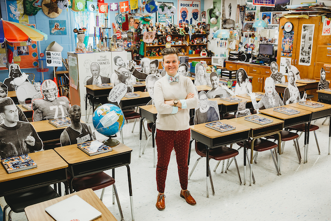 Lafayette High School social studies teacher Whitney Walker has filled her high school classroom with life-sized cut-outs of Lin-Manuel Miranda, Michelle Obama and other luminaries.