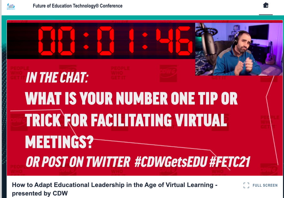 Doug Konopelko, education strategist for CDW-G, built two-minute chat sharing sessions into his FETC talk (and kept things entertaining by dancing a bit to the countdown clock music).