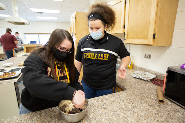 Students have attended class in-person throughout 2020-21 in Wisconsin's Turtle Lake School District, a one-building, pre-K through 12 system with an enrollment of 170.